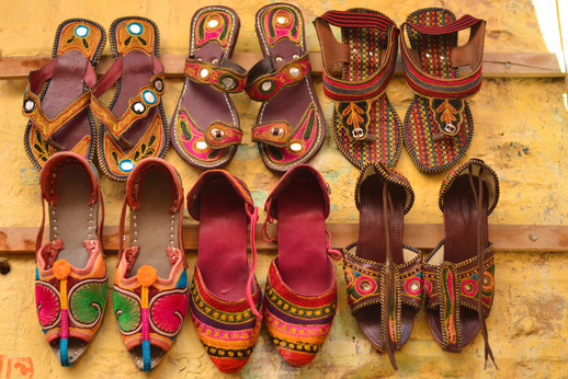 Chappals on sale - streets inside Jaisalmer fort