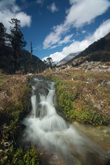 Another scenic of small stream with mountains in background
