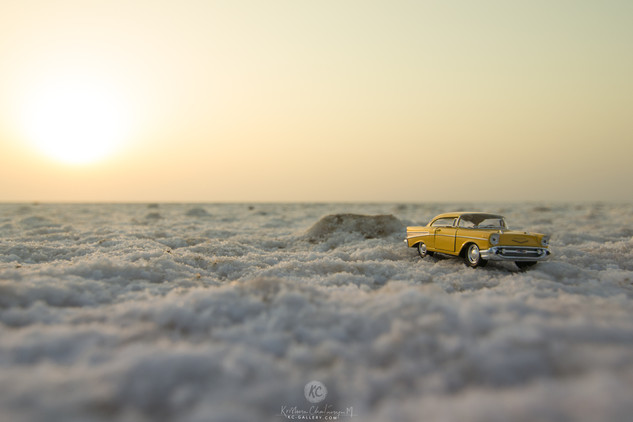 1957 Cevrolet Bel Air during sunrise at Rann of Kutch