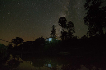 Astro photography taken at Tsokha, with a Monastery and lake as foreground.