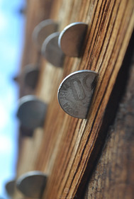Coins on temple walls