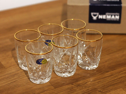 Ensemble de 6 verres à liqueur en cristal clair et or