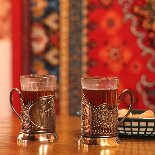 """Podstakannik"" Tea Glass Holder + Drinking Glass"