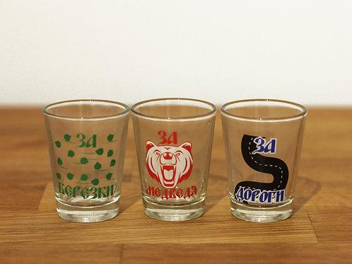 Ensemble de 3 verres à shot avec toasts en russe