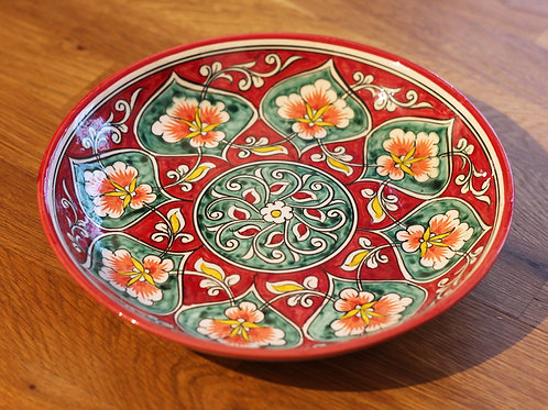 Red hand-painted plate