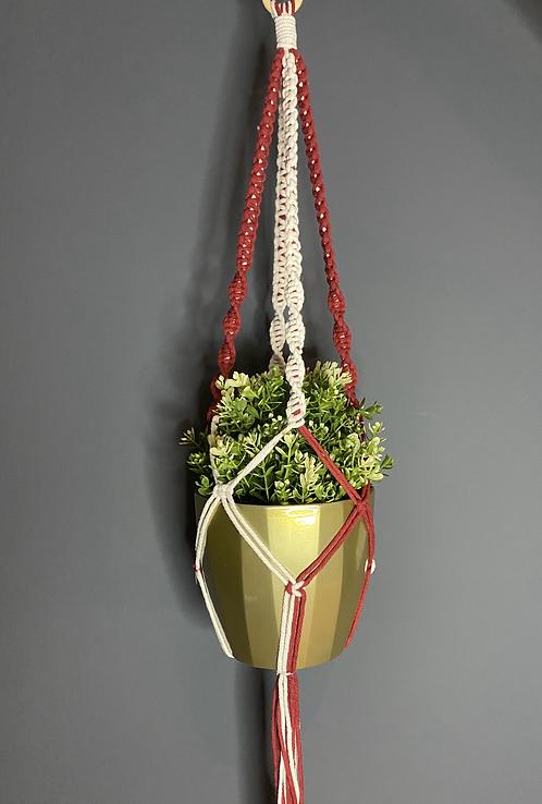 Macrame Plant Hanger - Red&White