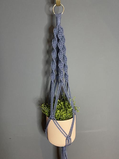 Chunky Macrame Plant Hanger - Denim Blue