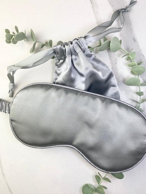 Satin Eye Mask with Bag - Silver