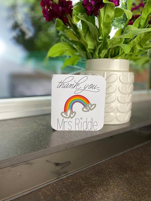 'Small Heart Rainbow Thank You' Card