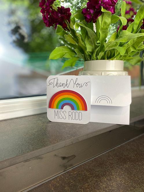 '3D Rainbow Thank You' Card