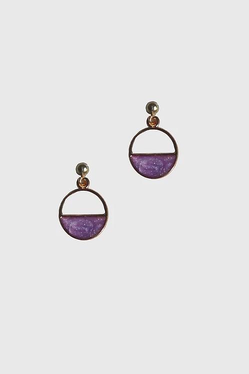 Cup Half Full Earrings - Purple