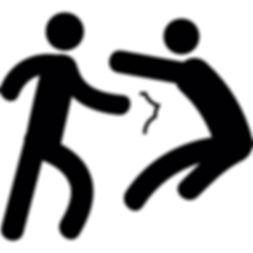 Stick figure people fighting