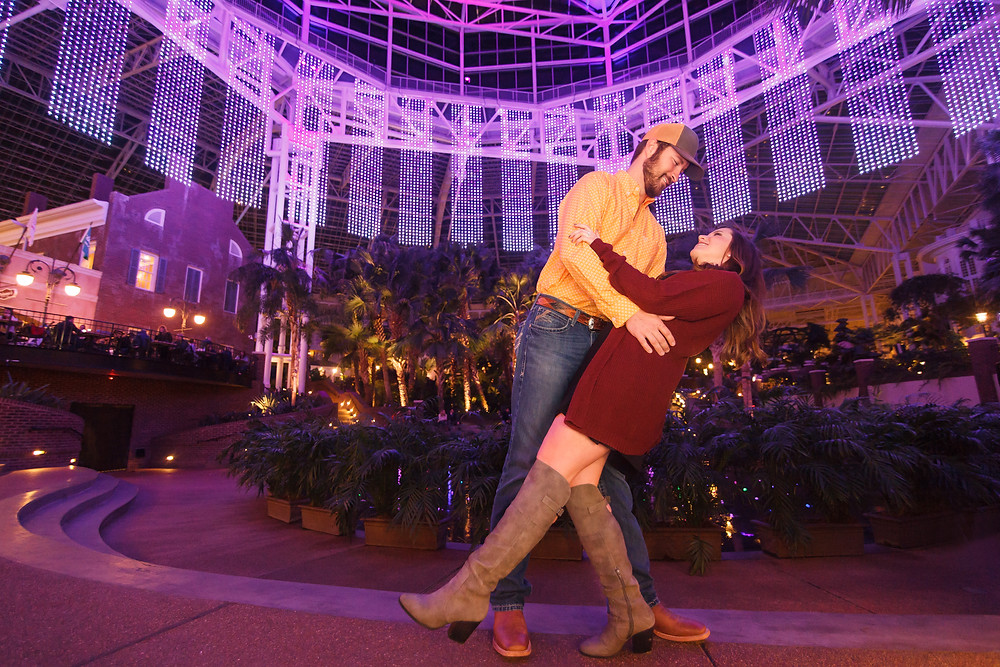 Sarah & Brian's Nashville engagement session at Gaylord Opryland Resort & Convention Center