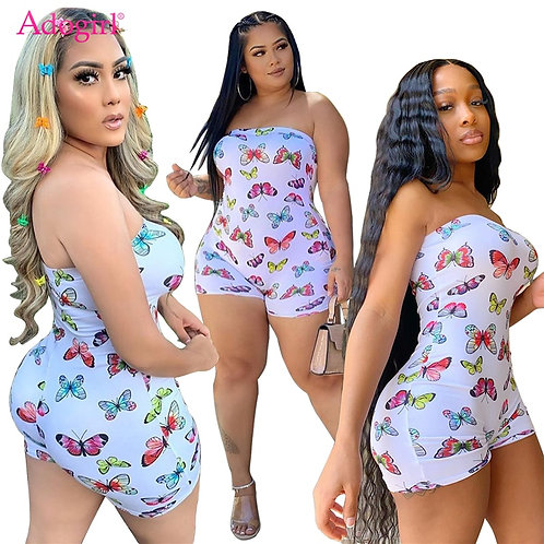 Butterfly Print Strapless Jumpsuit Sexy Onesies Casual / Playsuit Nightclub