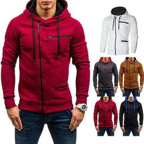 Men Hoodie Sweatshirt Zip Up Pullover Jumper Coat