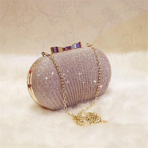 Golden  Glamour Evening Clutch Shiny Handbag with Chain over Shoulder