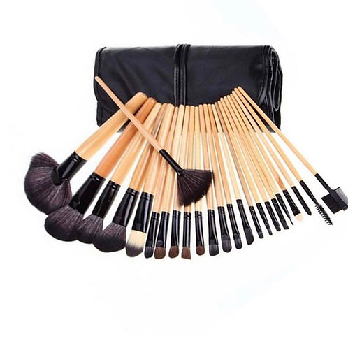 Pro 24 Pcs Makeup Brushes Cosmetic Tool Kit Eyeshadow Powder Brush Case Bag Set