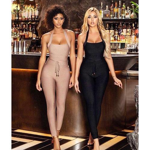 Ladies  Elegant Nude / Black Halter Party Wear Bodycon Romper