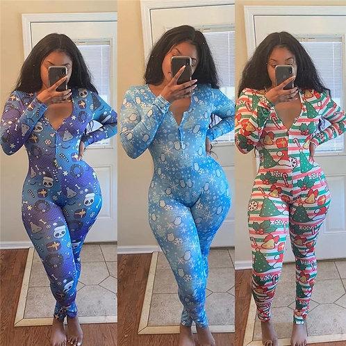 Deep V-Neck Sleepwear Jumpsuit Romper Long Sleeve Christmas and Halloween Print
