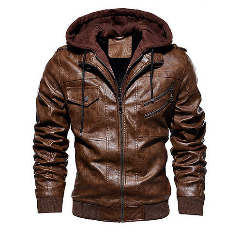 Men  Motorcycle Leather Jacket with Hoodie Size M-5xl