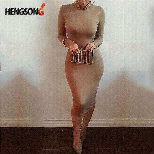 Women  Turtleneck Slim Long Sleeve Bodycon Dress