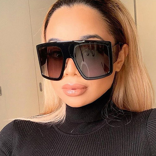 Unisex Oversized Square Sunglasses Black /Pink