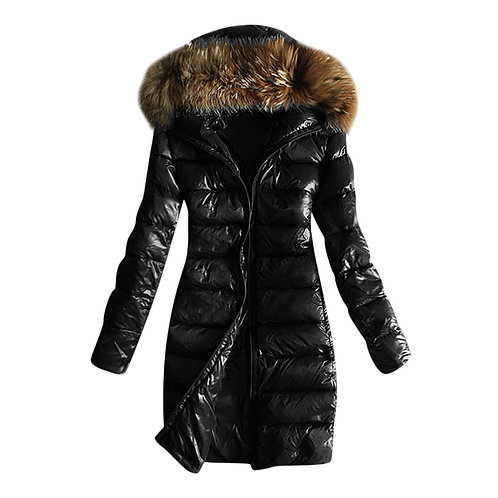 Women Quilted Winter Warm Hooded Coats Long Sleeve Fur Collar