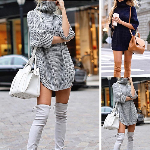 Plus Size Women Sweater Dress Turtleneck Loose Long Sleeve Dress