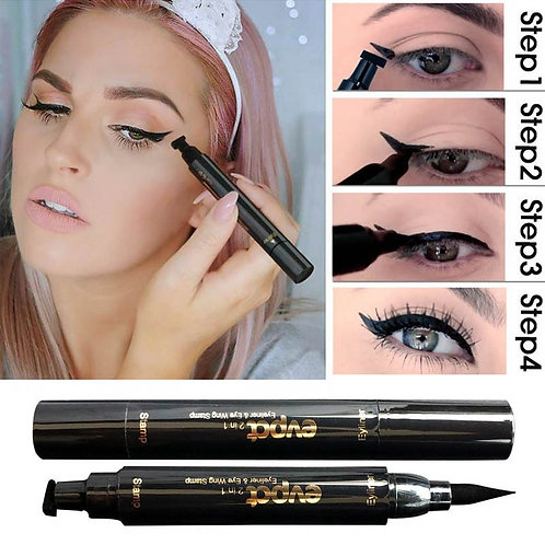 2 In1 Eyeliner Stamp Liquid Eyeliner Pencil  Waterproof Quick Dry Eyeliner