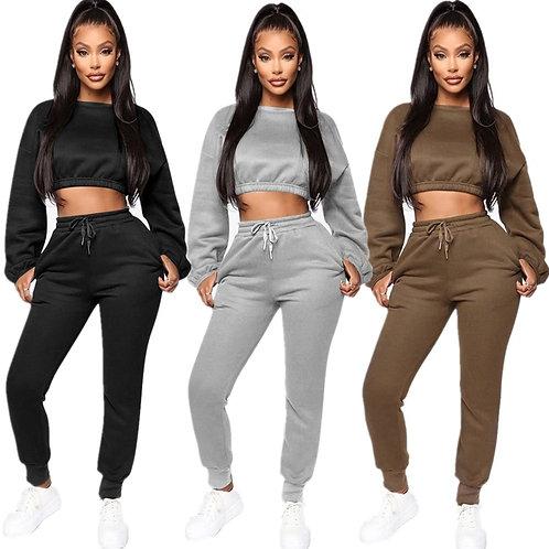 Thick Fleece Hoodies Tops and Pants Two Piece Set Women Tracksuit Crop Top