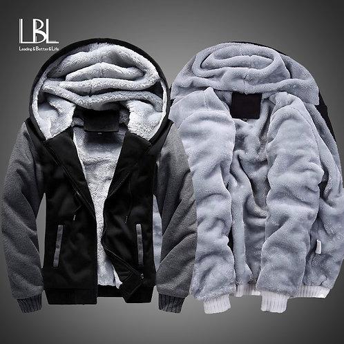 Men thick Zipper Hooded Coat Fleece Hoody