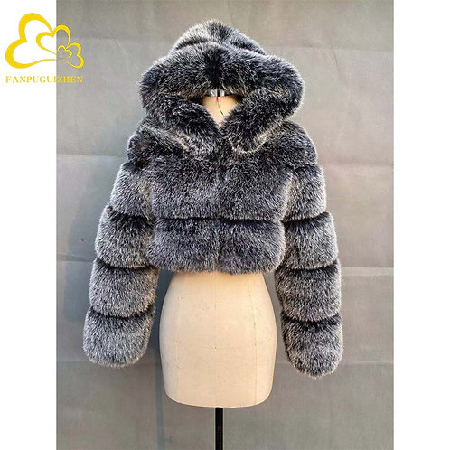 Winter Warm Fluffy High Quality  Faux Fur Coat Cropped Jacket