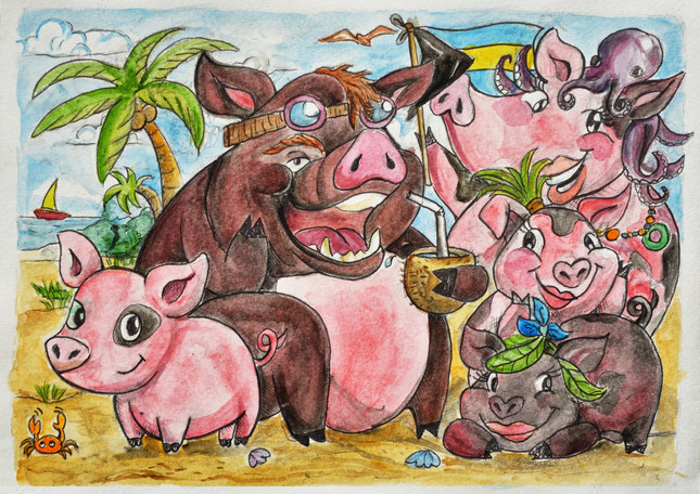 The Swimming Pig Family