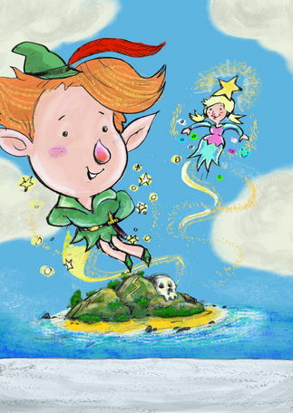 Peter Pan and Tinker Bell in Neverland