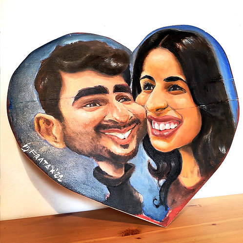 Caricature Painting (with Oil Colour on wood) (price x face)