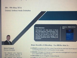Fraud and Anti-Money Laundering Training event in Dubai 8 and 9 May, 2016.