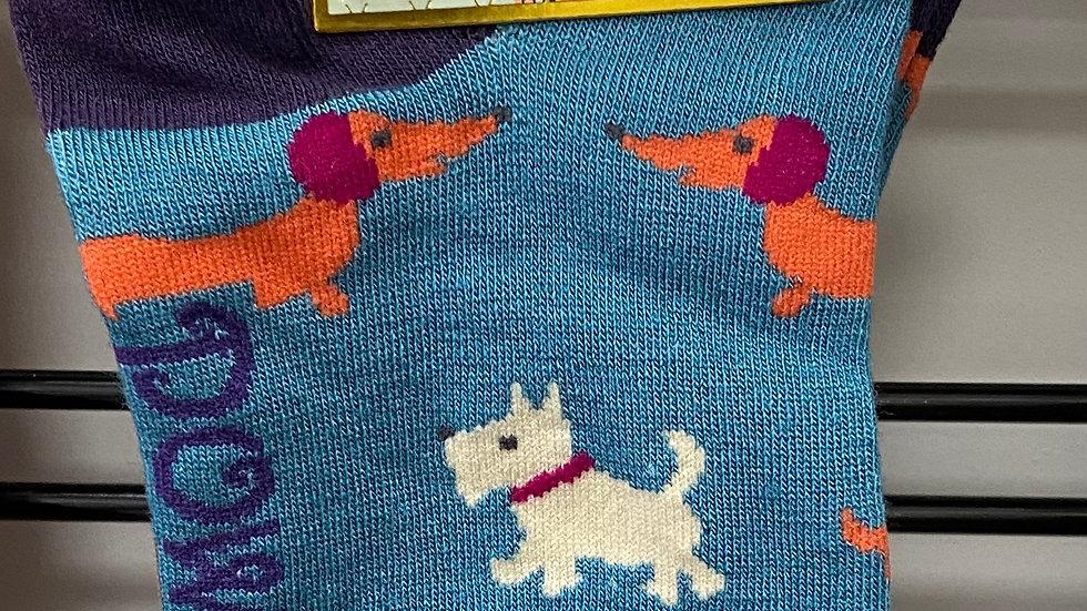 Bamboo trainer socks / Scottie dog/dashound