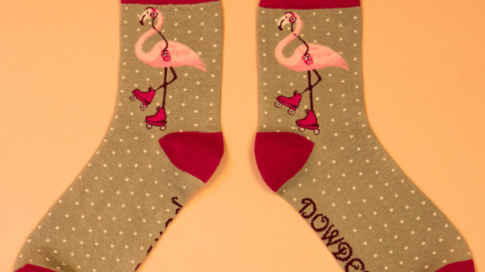 Flamingo print bamboo ankle socks