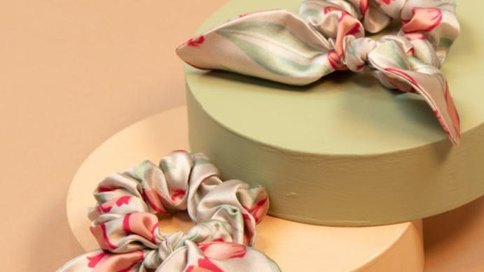 Pink satin tulip print scrunchie