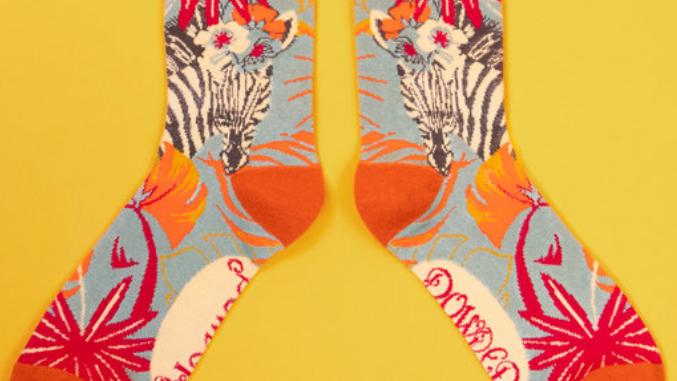 Zebra print bamboo ankle sock