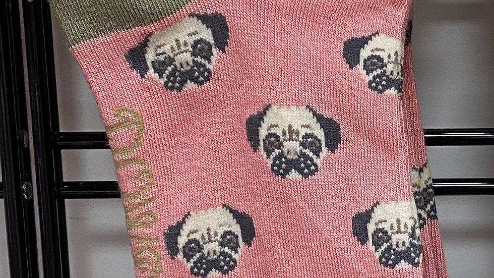 Bamboo trainer socks/ Pug