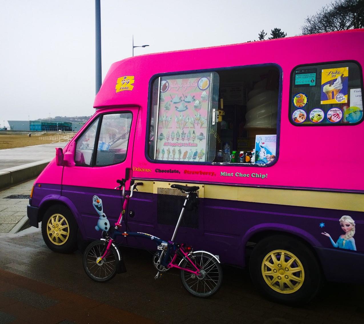 Pink and purple ice cream van