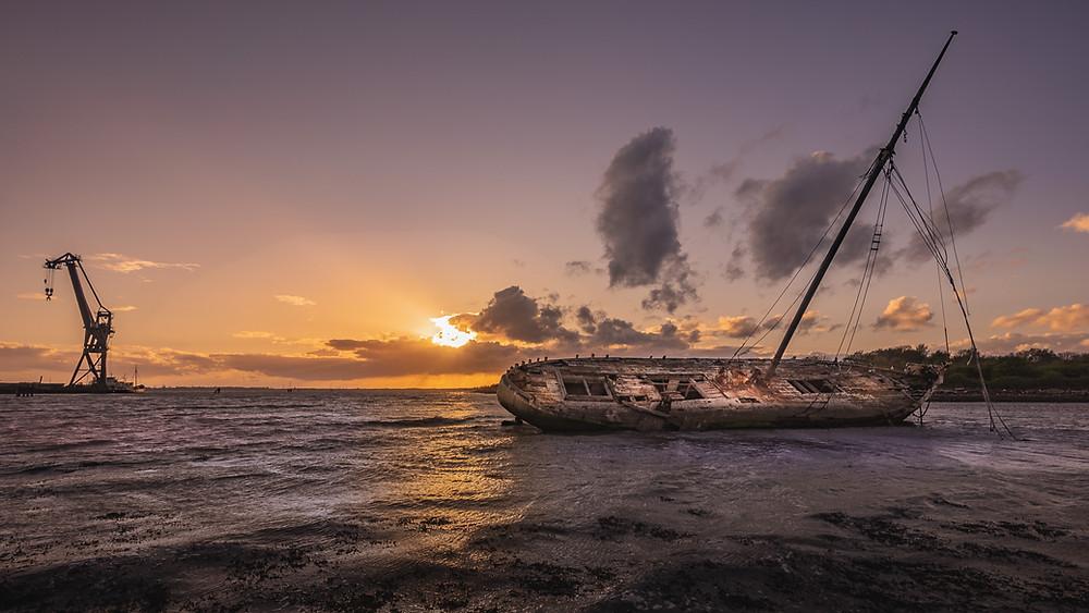Tipner shipwreck at sunset