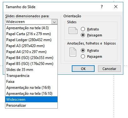 janela de opções de tamanhos de slides