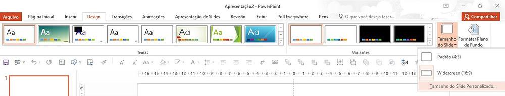 guia Design ativa mouse selecionando opção Tamanho de slide Tamanho do Slide Personalizado