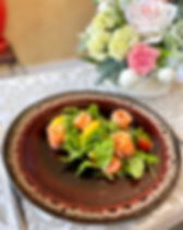 салат с лососем и рукколой с апельсиновы