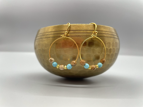 Blue and Brown Amazonite Goddess Earrings