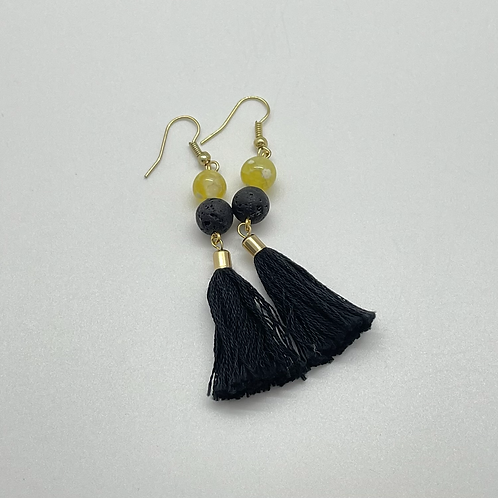 Yellow Agate Goddess Diffuser Earrings