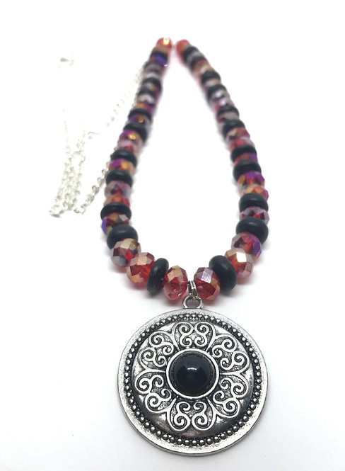 Red Rondelles with Silver and Black Medallion Necklace