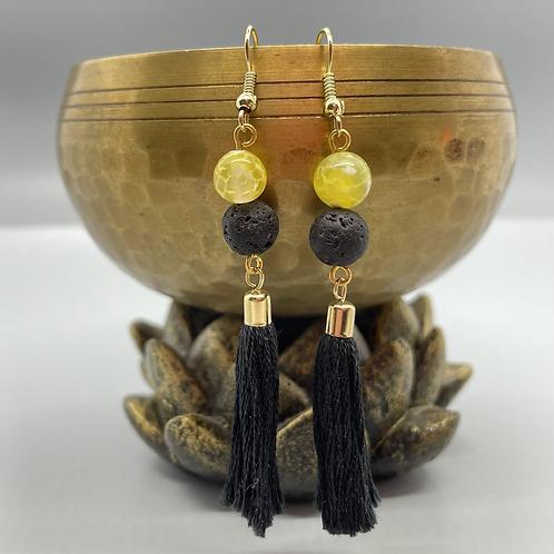 Yellow Agate Goddess Diffuser Earrings